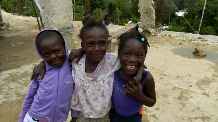 smiling girls in Haiti